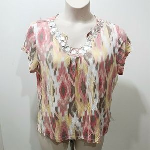 RUBY RD PXL Top Pink Brown Abstract Scoop Neck
